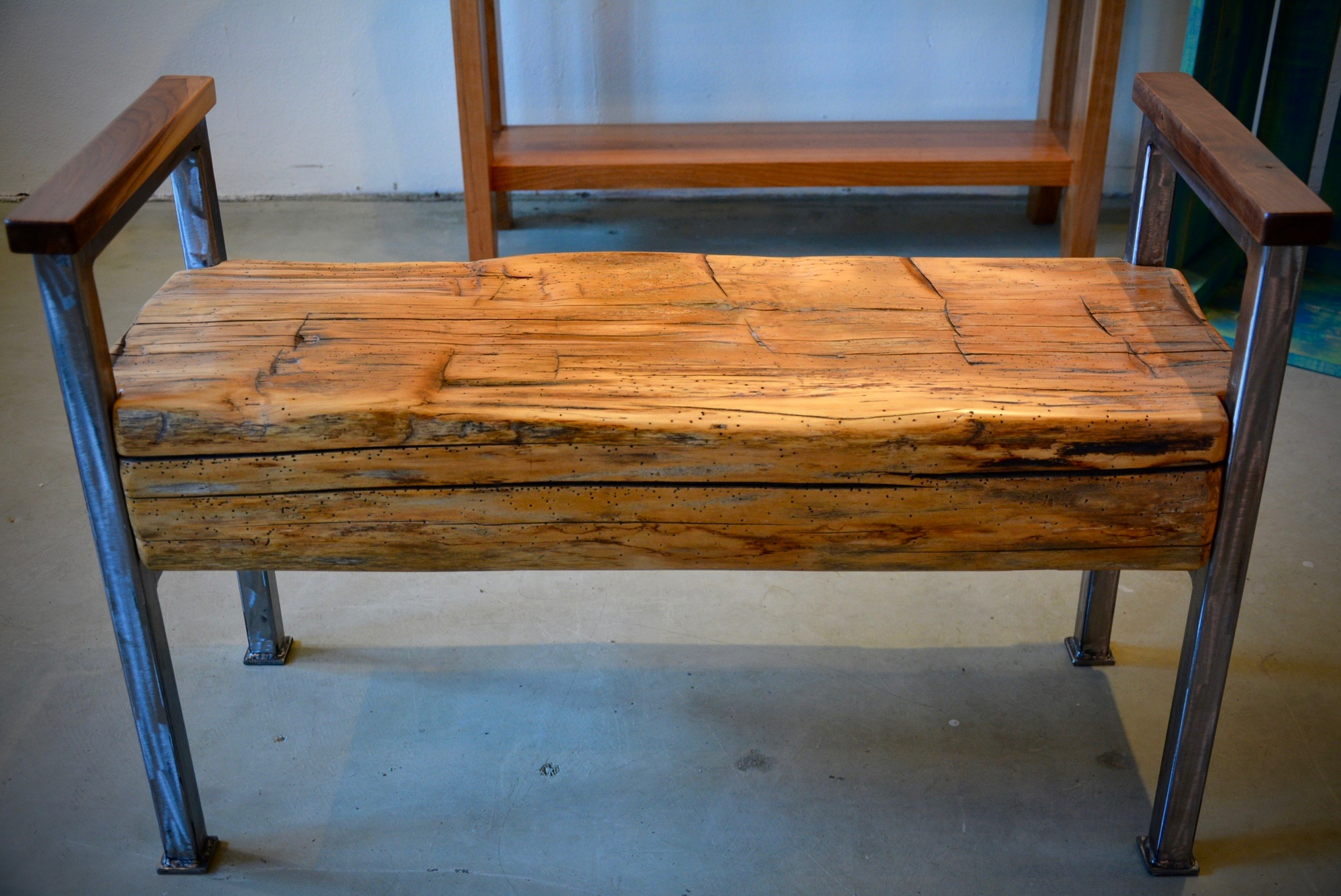 Phenomenal Barn Beam Bench With Arms Ibusinesslaw Wood Chair Design Ideas Ibusinesslaworg