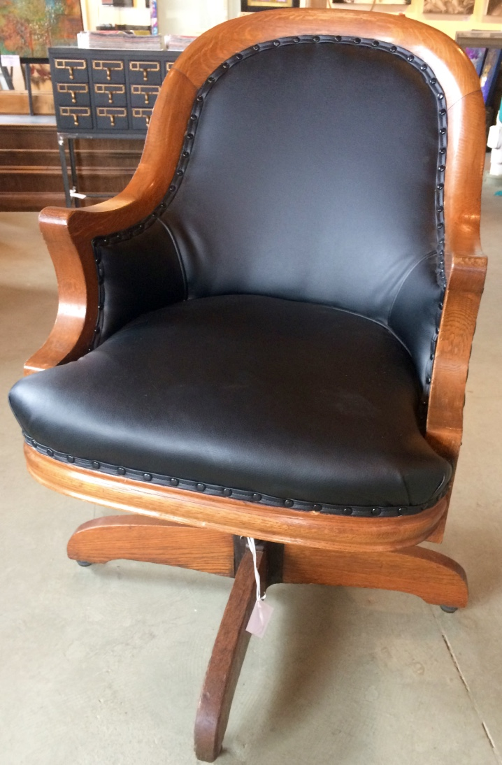 Oak office chair with black leather arthaus