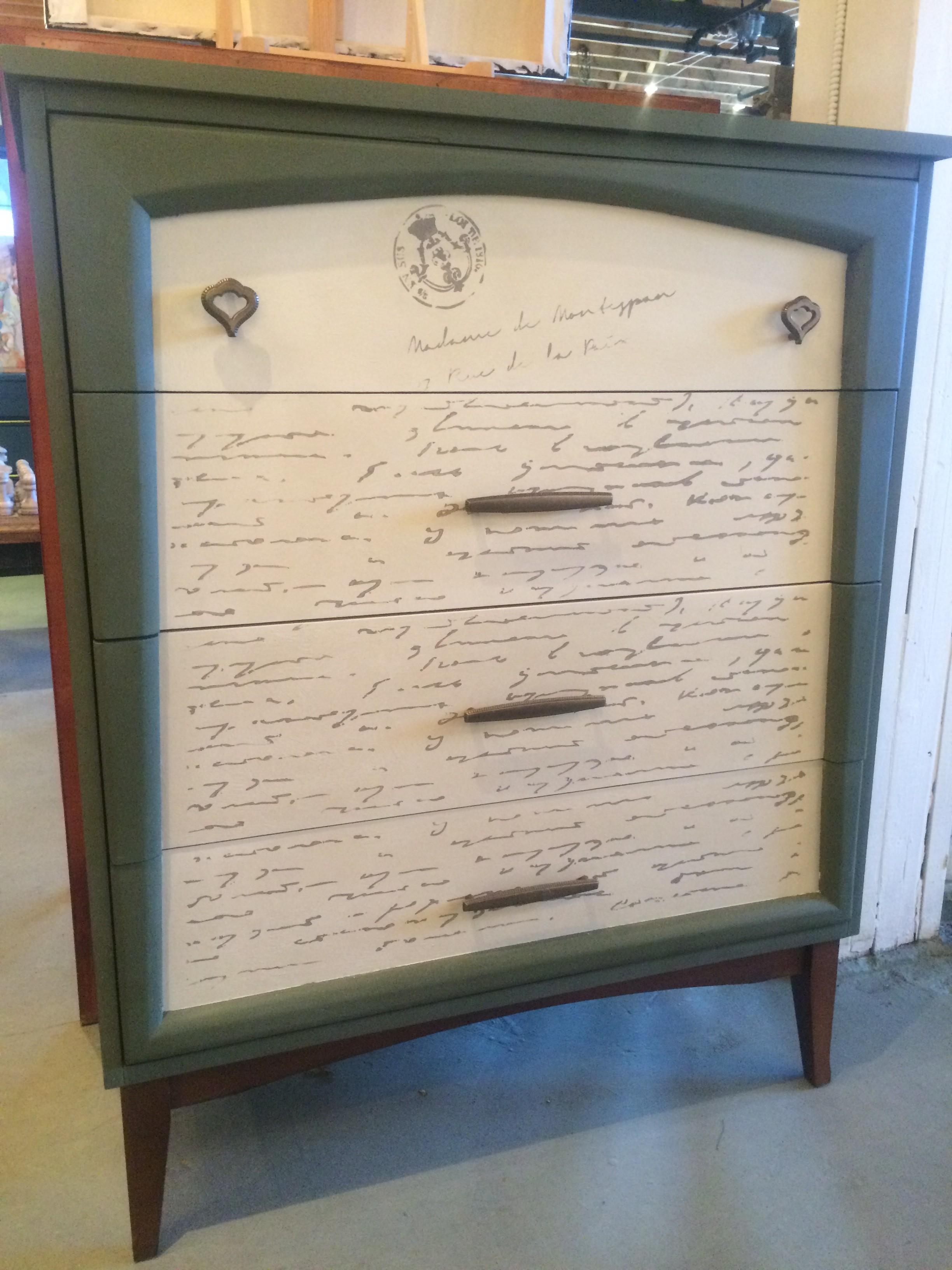 Mid Century Modern Dresser With Olive Old Ochre Chalk Paint