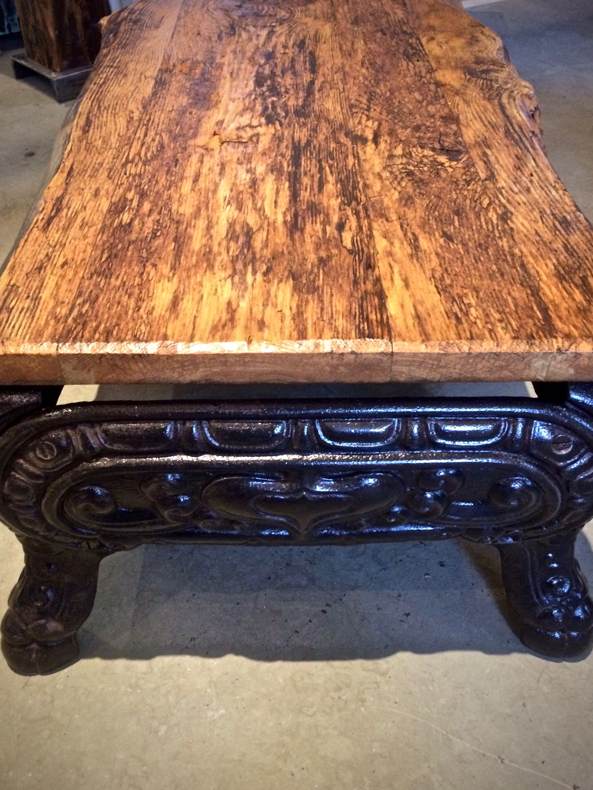 Reclaimed Wood Coffee Table With Woodstove Base Arthaus150
