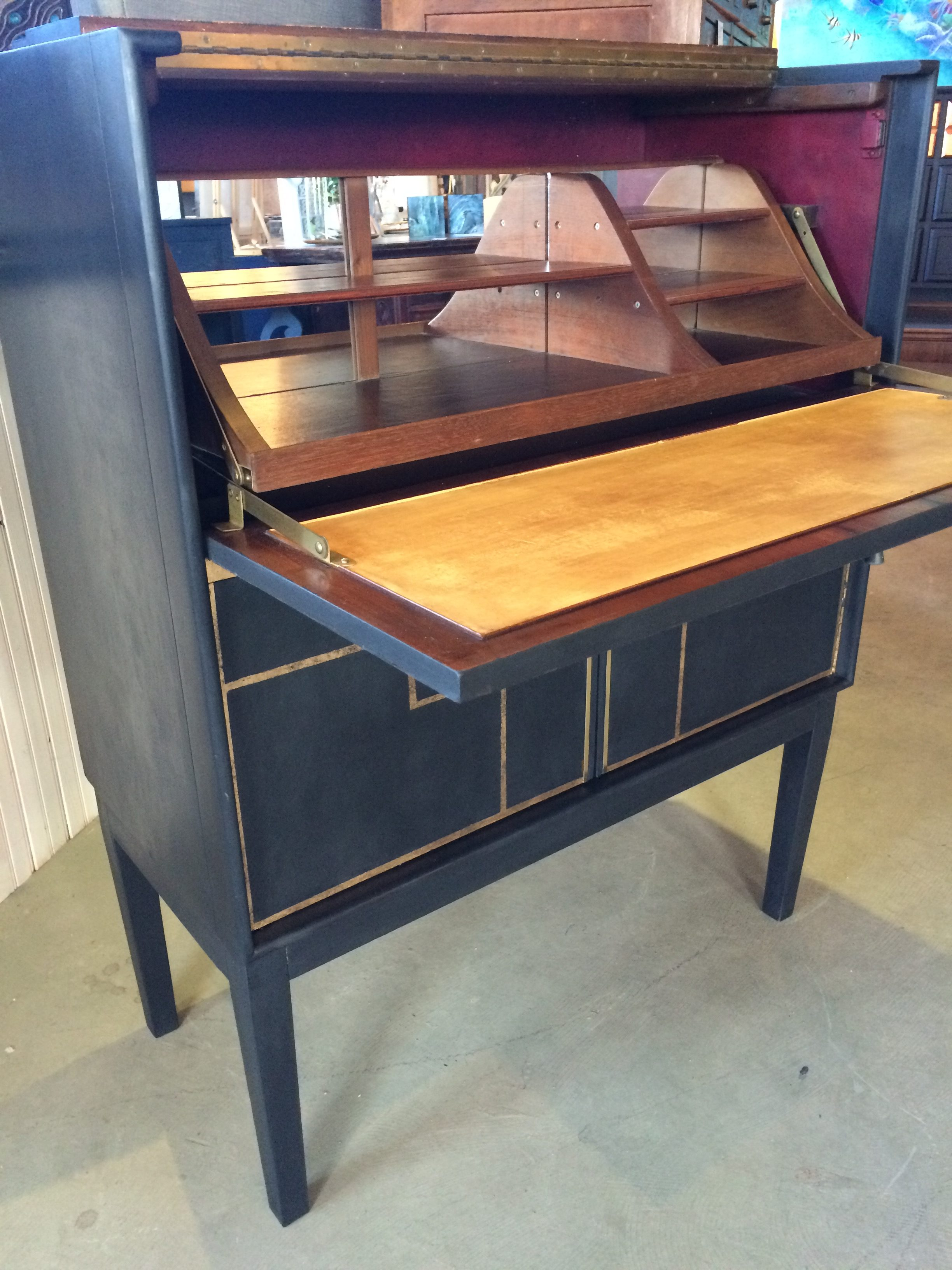 mid century modern desk with gold leafing  foiling  arthaus - mid century modern desk with gold leafing  foiling