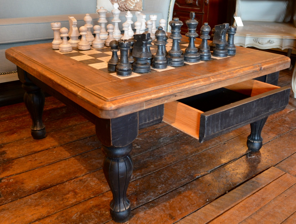 SOLD Hand Crafted Chess Table & Chess Pieces