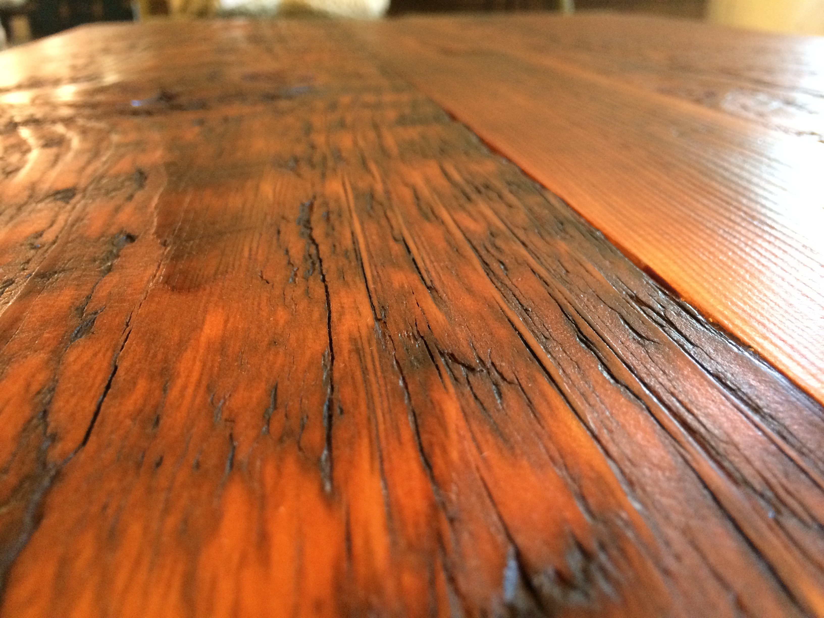 Reclaimed Wood Coffee Table with Antique Metal Base